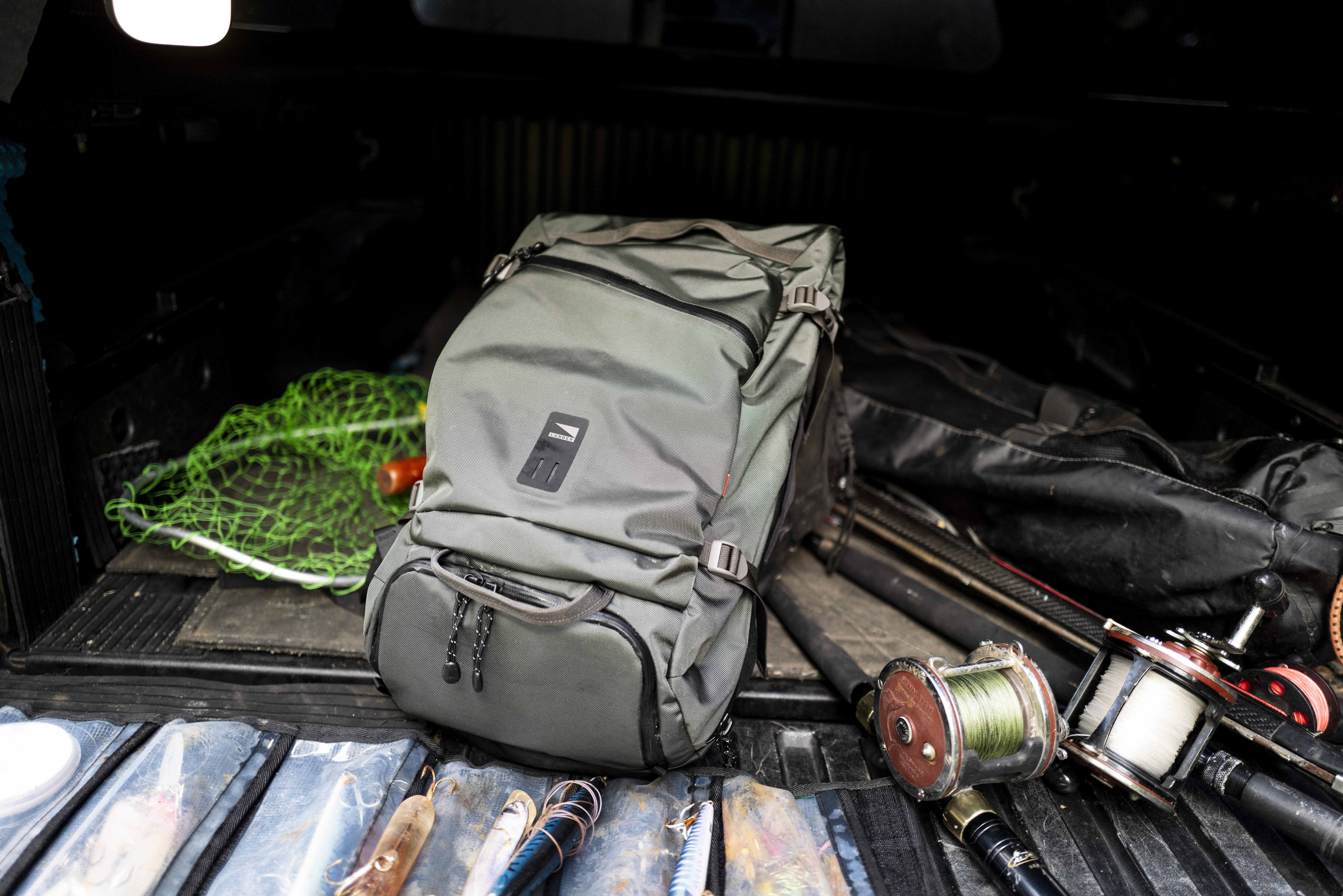 Traveler backpack with fishing gear