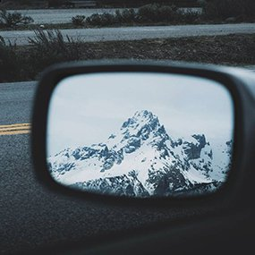 Jace Goodwin photography mountains in the side mirror